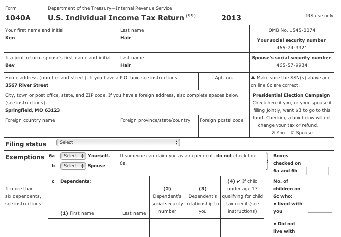 Form 1040A 2013