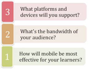 3. What platforms and devices will you support? 2. What's the bandwidth of your audience? 1. How will mobile be most effective for your learners?