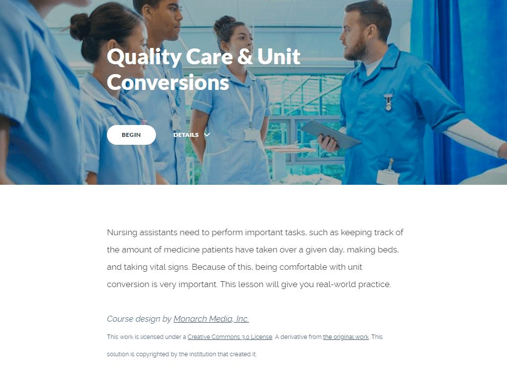 Quality Care & Unit Conversions